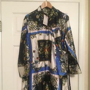 scarf print mandarin collar wrap dress